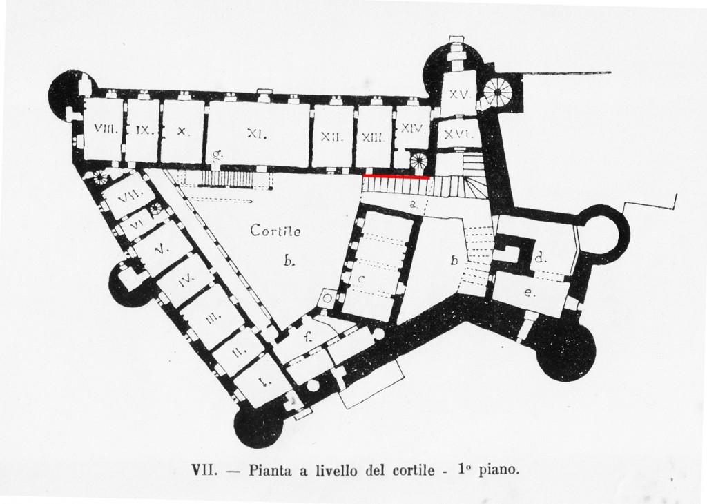 Pianta castello, fine XIX secolo (più o meno corrisponde all'attuale).