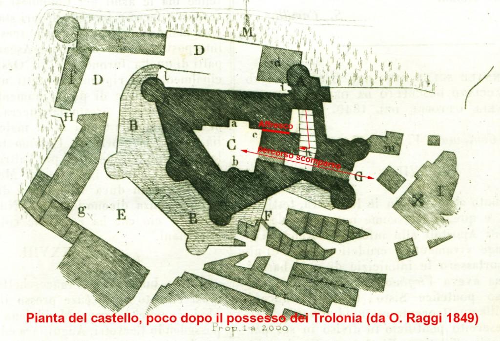 Pianta castello, prima metà XIX secolo.