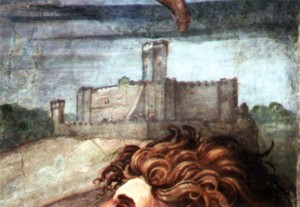 Particolare affresco Chiesa dell'Assunta, 1517, Trevignano Romano (da V. Del Monaco).