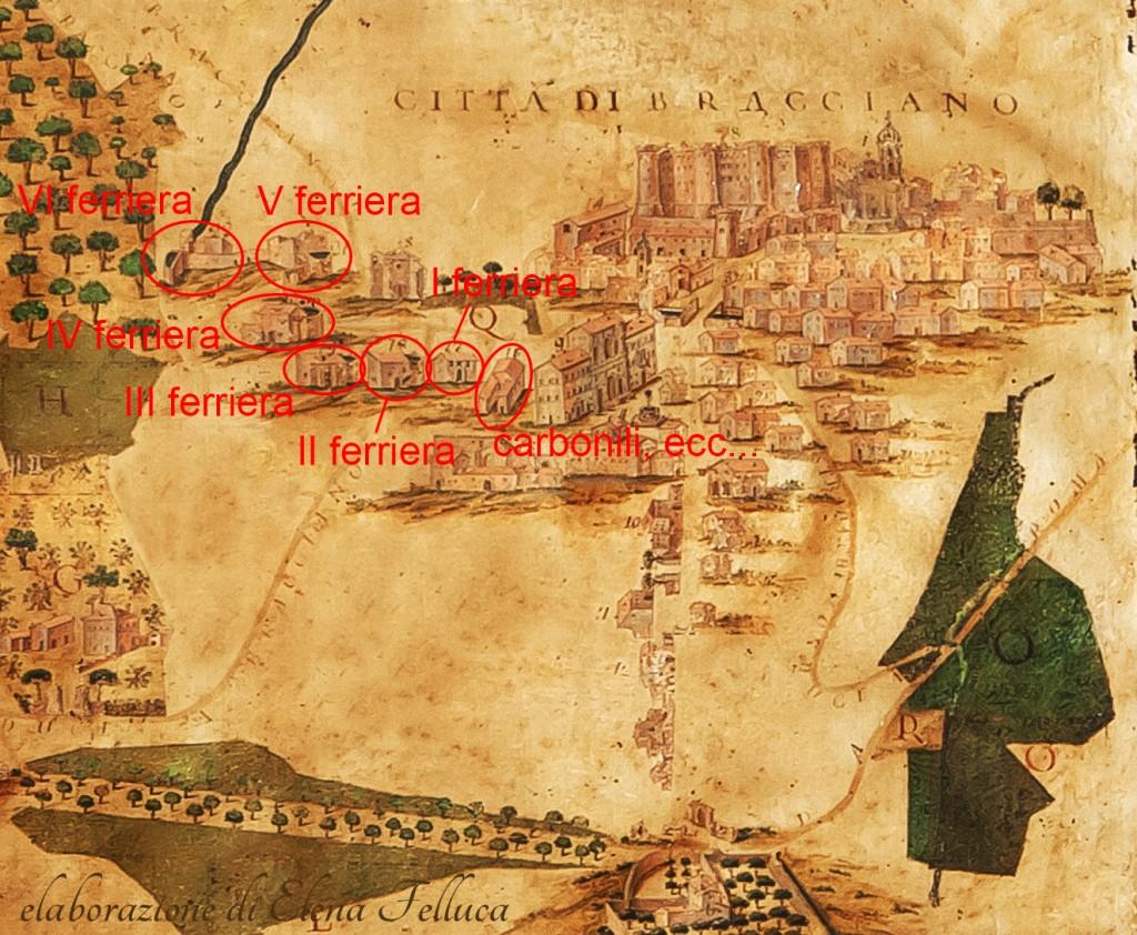 Bracciano, dipinto su carta telata, G. Piaggese 1752, particolare.