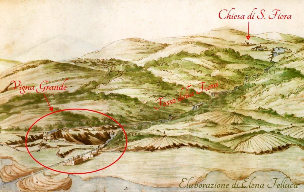 Disegno a colori realizzato nel XVII secolo e custodito tra le relazione degli studi e delle esplorazioni di Carlo Fontana (British Library Catalogue, King George III Topographical Collection)